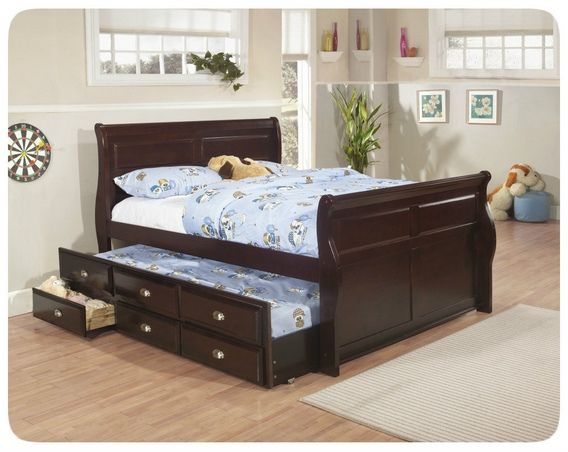 "Kelsey espresso finish wood Full size Louis Philip style day bed with pull out trundle with 3 storage drawers underneath. Measures 81"" x 58"" x 47"" H. Some assembly required. SKU 	K1251"