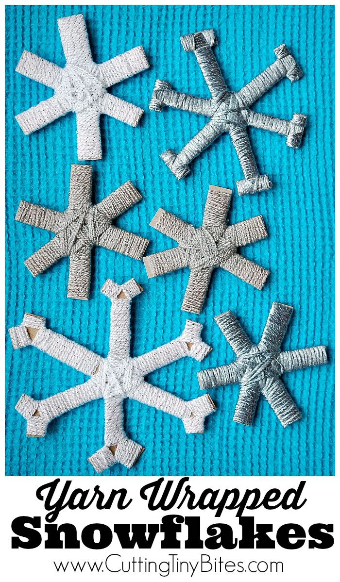 Yarn Wrapped Snowflakes. Winter fine motor craft for preschoolers or older children. Let it snow!