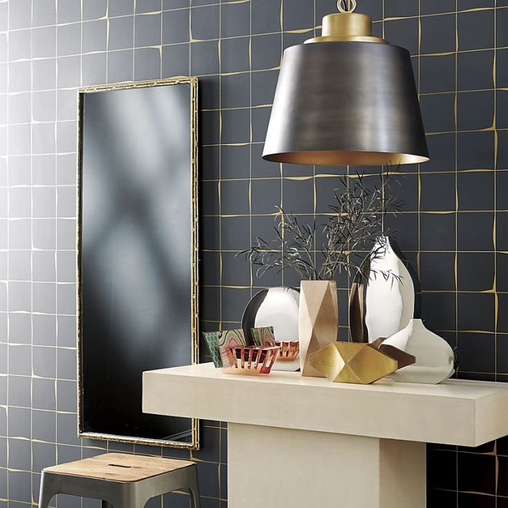 Metallic Grout on Mixed Metals Interior Design