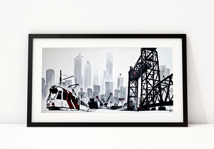 DE HEF Hoewel de Erasmusbrug inmiddels het imago van het hedendaagse Rotterdam domineert, is de Hef of Koninginnebrug nog steeds het bouwwerk dat de stoere en robuuste kant van Rotterdam en haar haven uitdraagt. De harde, grafische staalconstructies van de brug tegen de achtergrond van de skyline van de stad in de mist, zijn geïnspireerd op foto's van New York uit de jaren '30 van de vorige eeuw van fotograaf Samuel H. Gottscho.