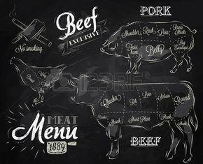 Krijt Illustratie van een vintage grafisch element op het menu voor vlees biefstuk koe varken kip verdeeld in stukken vlees Stockfoto
