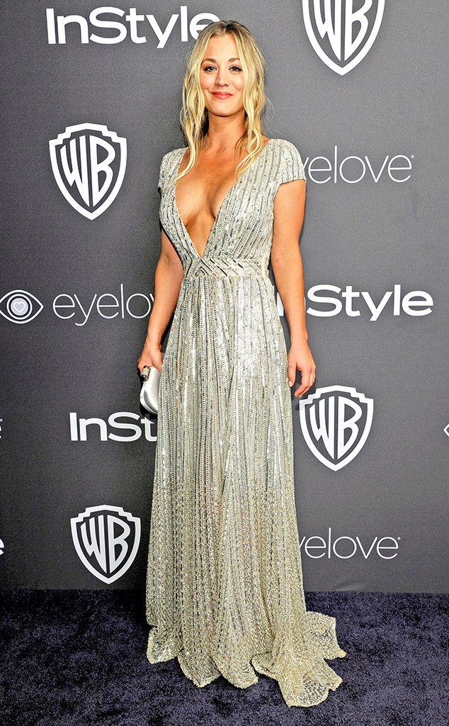 Kaley Cuoco from Golden Globes 2017 Party Pics  The Big Bang actress sparkled in a metallic sequin gown by Tommy Hilfiger with a plunging neckline at the InStyle and Warner Bros. after-party.