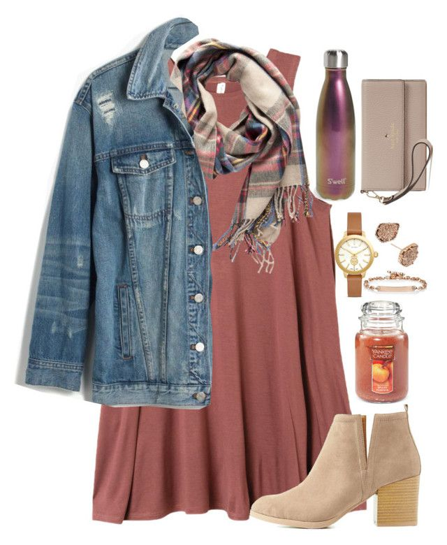 """""""yay for fall!!!"""" by valerienwashington ❤ liked on Polyvore featuring RVCA, Pieces, Madewell, Charlotte Russe, Yankee Candle, Tory Burch, Kendra Scott, Hoorsenbuhs, S'well and Kate Spade"""