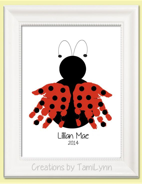 Ladybug with Polka Dots Handprint Art by CreationsbyTamiLynn