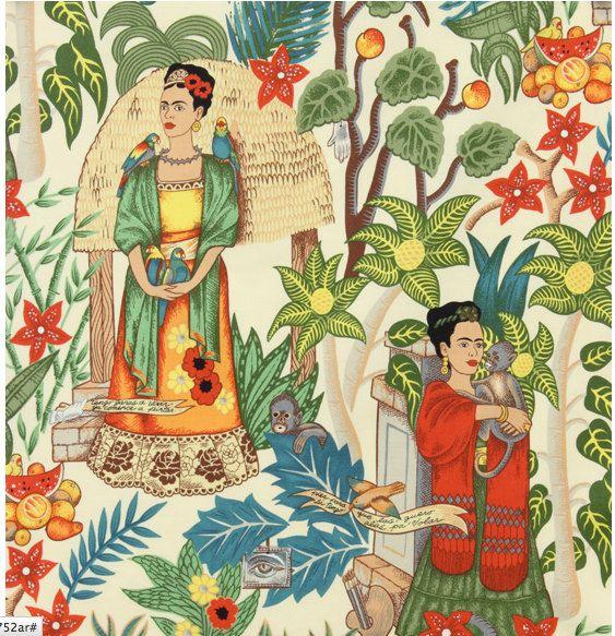 Frida es Garten 100 % Baumwollgewebe Tan Hintergrund von