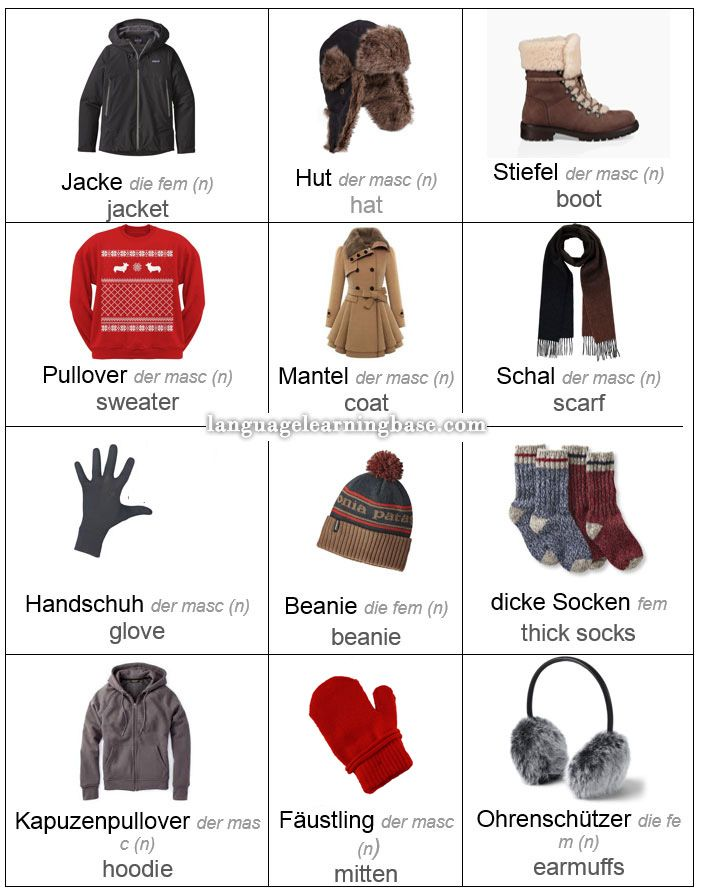 German Vocabulary for Winter Clothes. Talking About Your Winter Holiday Plans in German. - learn German,vocabulary,communication,german,winter