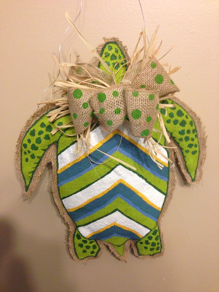 176 best burlap summer images on pinterest burlap art for Turtle arts and crafts