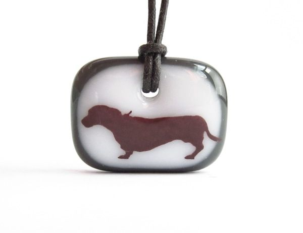 Dachshund Necklace - handmade in glass by  l e i l a c o o l s
