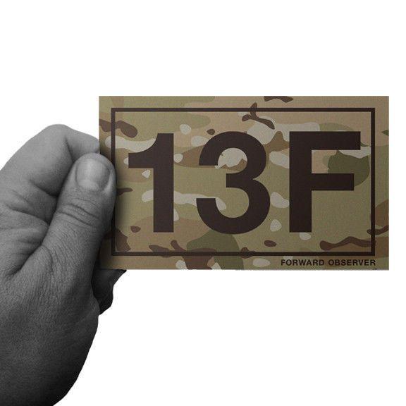 MULTICAM ARMY MOS 13F FORWARD OBSERVER WINDOW OR BUMPER STICKER by Inkfidel #army #usmc #navy #coastguard #airforce #veteran #military #cardecal