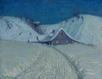 Birge Harrison (American, 1854-1929). Winter's Cabin at the Curve. | Lot #68056 | Heritage Auctions