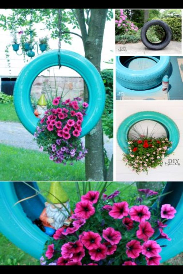 Recycled Tyre Hanging Garden