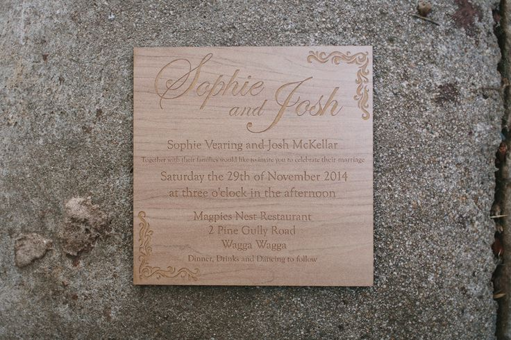 Laser Etched sustainable wooden Wedding Invitations