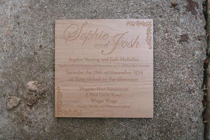 Laser etched wooden wedding invitation, designed & cut by Little Laser Lab