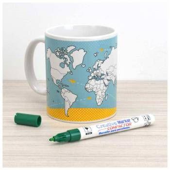 Marque suas viagens e faça sua lista de desejos na Caneca do Viajante! Use a caneca em seu dia a dia para tomar um café sonhando com viagens ou para decorar sua casa ou mesa do escritório. Acompanha caneta especialmente fabricada para pintar porcelana.