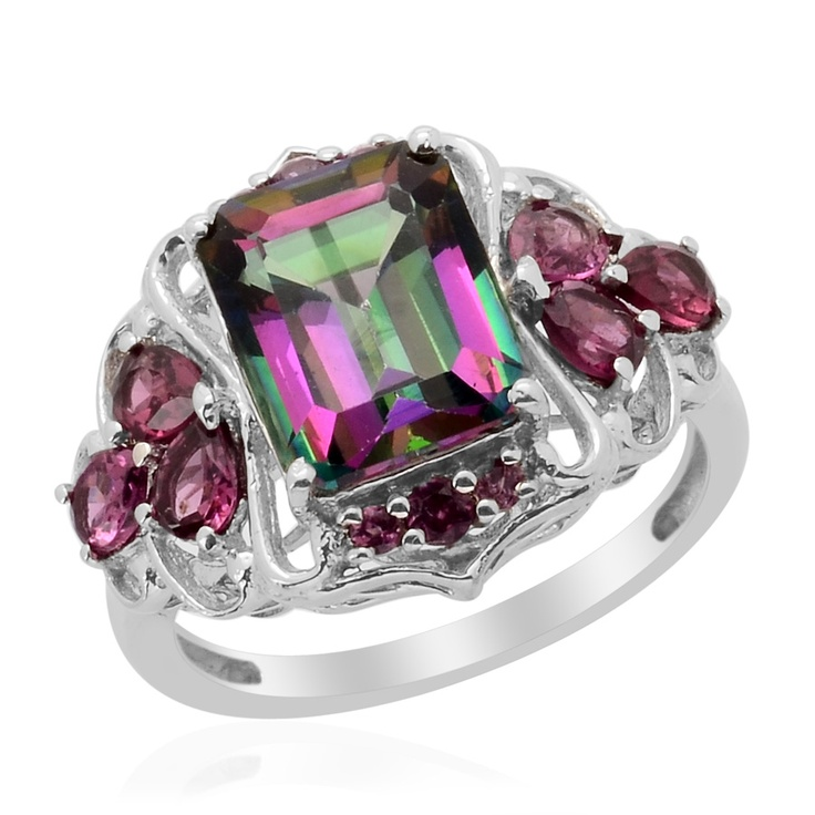Liquidation Channel: Northern Lights Mystic Topaz and Orissa Rhodolite Garnet Ring in Platinum Overlay Sterling Silver (Nickel Free)