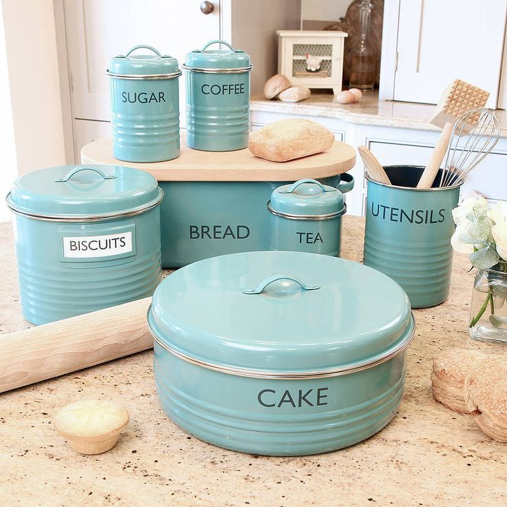 Lovely turquoise kitchen canister set, retro kitchen decor tins, coffee tea sugar tins