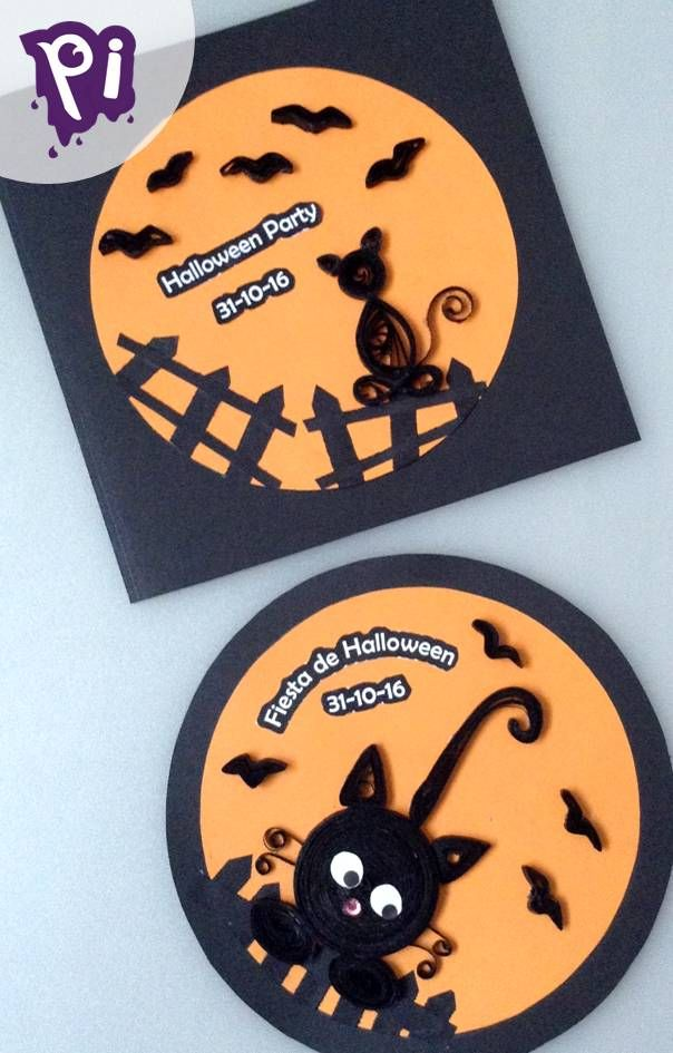 Invitación fiesta de Halloween con gatos de filigrana , Halloween Party Invitation with quilling cat.. decoracion, manualidades, bricolaje, pintaideas, handmade, crafts, arts, DIY, hagalo usted mismo,..