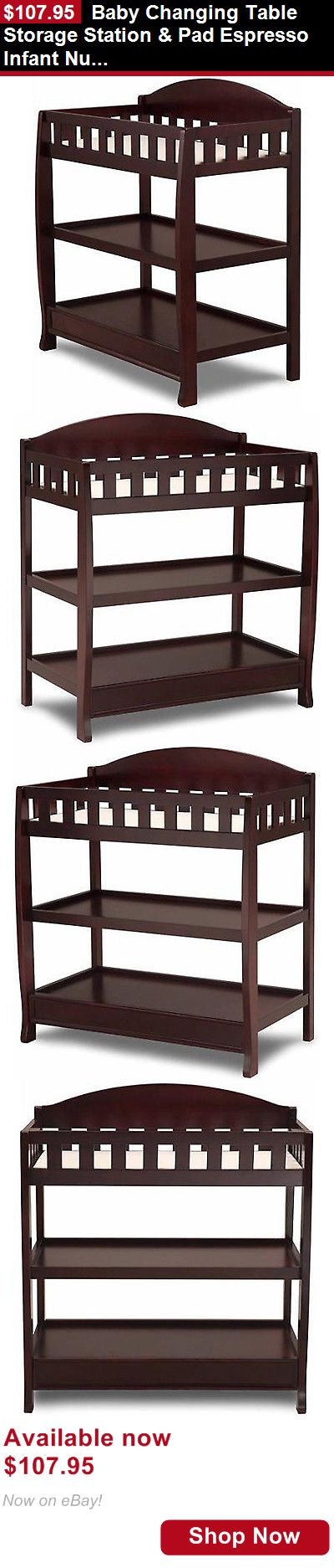 Changing Tables: Baby Changing Table Storage Station And Pad Espresso Infant Nursery Wood Dresser BUY IT NOW ONLY: $107.95