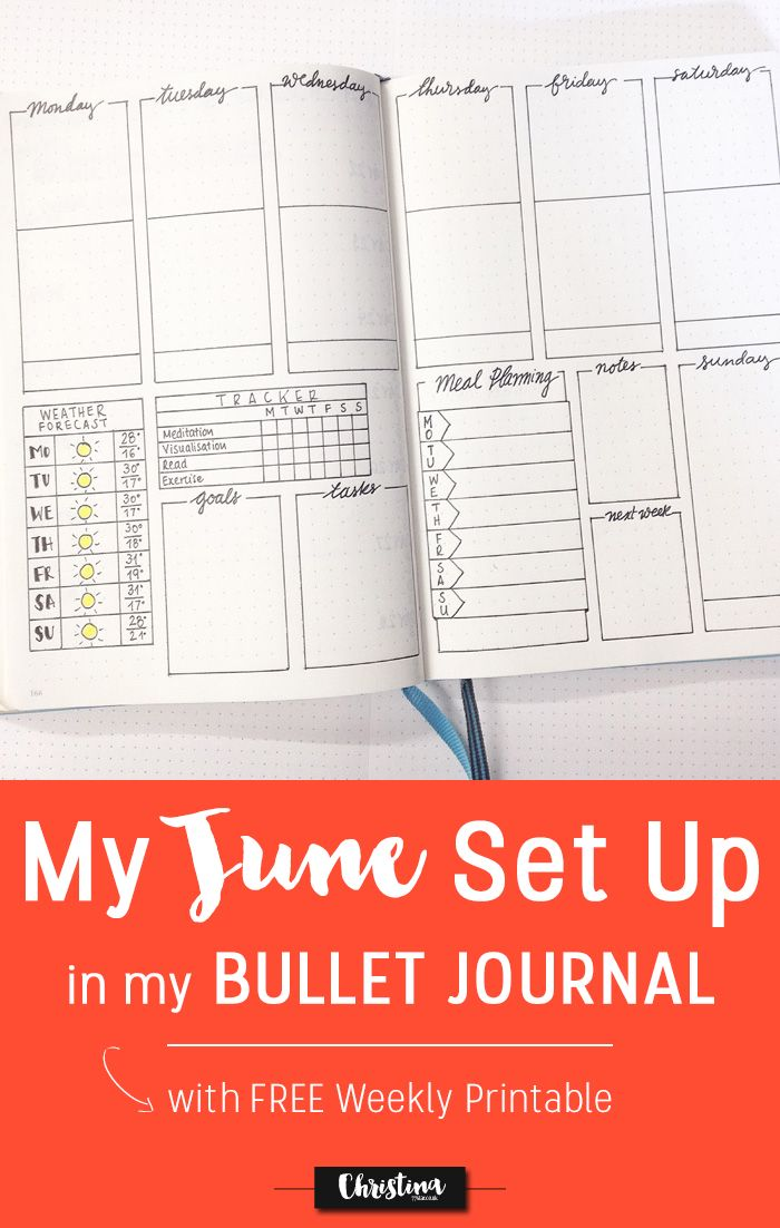 See how I've set up my bullet journal for the month of June and get the Free Weekly Printable! - www.christina77star.co.uk  #freeprintable #bulletjournal #weeklyspread