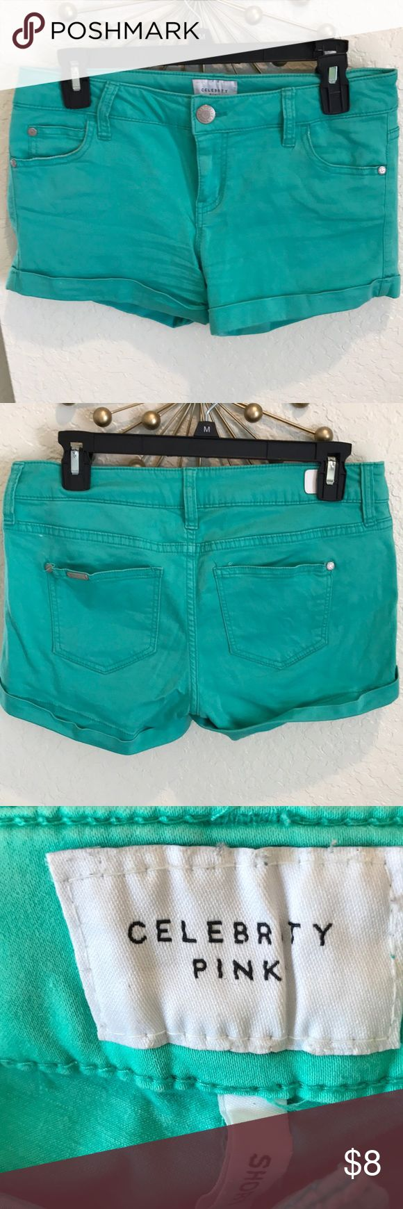 Teal shorts size 7 Celebrity PINK teal shorts size 7/28. Stretchy material. Worn but in good condition. Very comfy. Celebrity Pink Shorts Jean Shorts