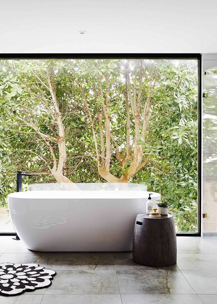 Ensuite bathroom with picture window | Home Beautiful Magazine Australia
