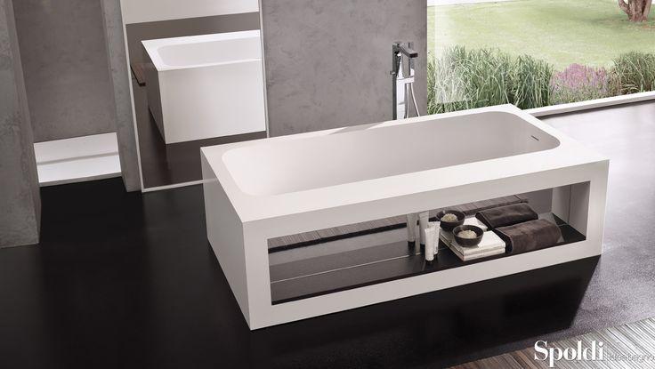 Vasca Book in Cristalplant® con vano interno per riporre libri e oggetti. #spoldiideabagno #vasca #bathtub #relax #book #cristalplant #arredobagno #interiordesign #design #casarottodesign #bagno #bathroom