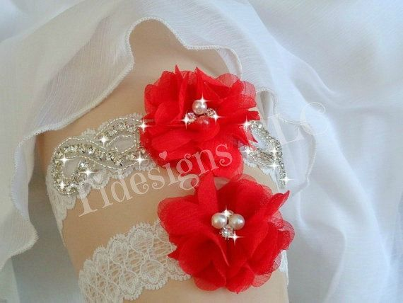 Red Garter Set Wedding Garter Set Ivory Garter Rhinestone