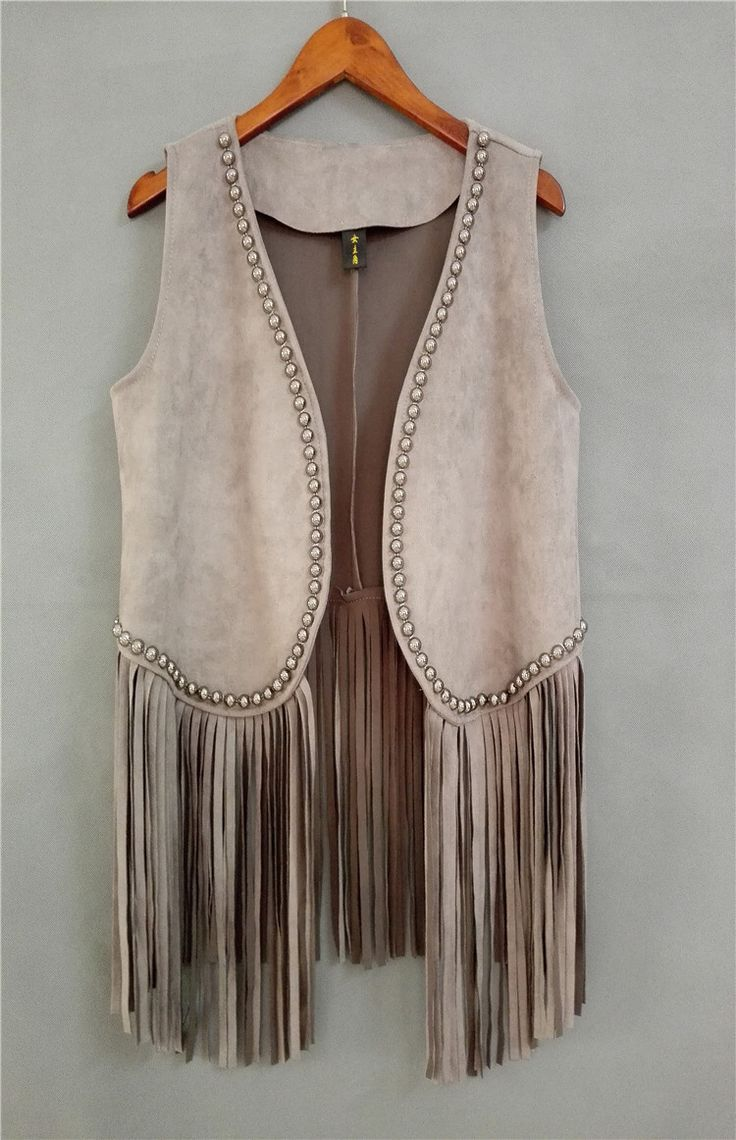 Suede Fringe Vest frisada Rivet Colete Colete Feminino Chaleco Flecos Outerwear casaco Colete mulheres OL Chalecos Mujer