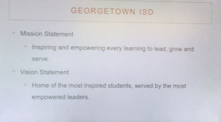 Georgetown ISD vision/mission that led to redesign(pics blurry but checkout library/media center spaces)