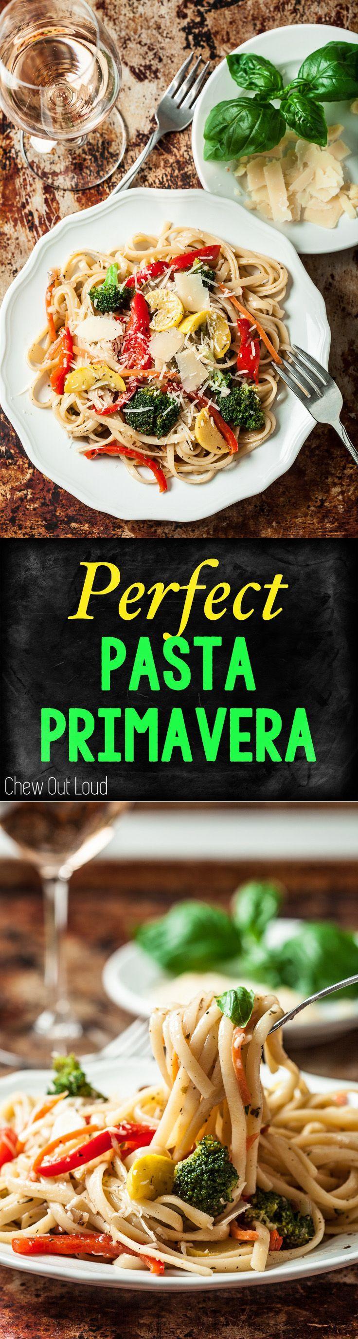 Fresh Pasta Primavera. Healthy, clean, lean, and delicious. Colorful spring and summer vegetables in one dish. #pasta #spaghetti #primavera www.chewoutloud.com