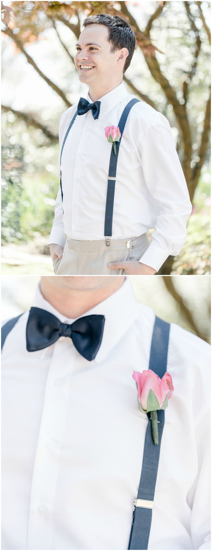 Groom style, wedding fashion, khaki trousers, navy blue suspenders, bowtie, pink rose boutonniere // Ariel Kaitlin Photography