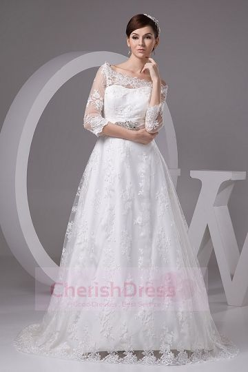 Lace Off-the-shoulder 3/4 Sleeves Crystal Detailing Ribbon A-line Court Train Wedding Dress - Wedding Dresses