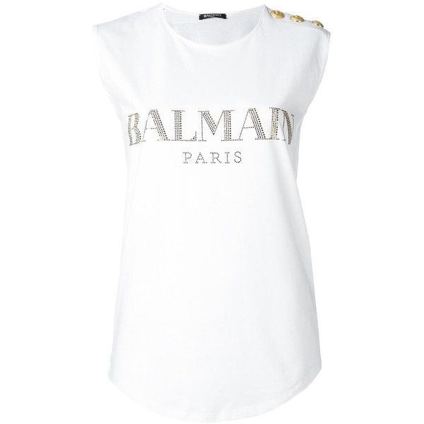 Balmain logo T-shirt (£340) ❤ liked on Polyvore featuring tops, t-shirts, white, balmain t shirt, cotton logo t shirts, long length t shirts, long tee and white t shirt