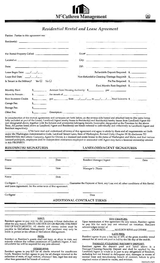 Lease Agreement Form. General Office Use Forms - Mccathren