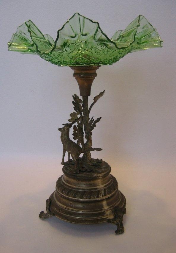 Antique Metal Art Nouveau Hunt Epergne Stag Oak Tree Green Glass | eBay