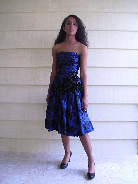 robe de bal Vintage, 80, bleu, taille xs, robe d