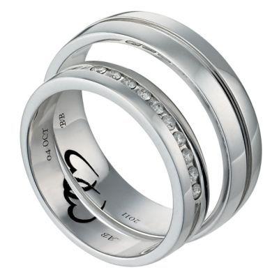 Commitment 9ct White Gold 1/10 Carat Diamond Ring Set- H. Samuel the Jeweller