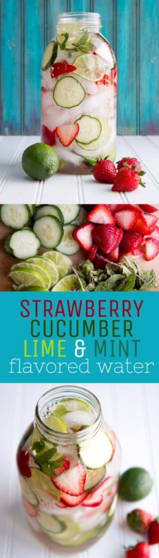 31 Detox Water Recipes for Drinks To Cleanse Skin and Body. Easy to Make Waters and Tea Promote Health, Diet and Support Weight loss | Strawberry, Lime, Cucumber and Mint Water Recipe diyjoy.com/...