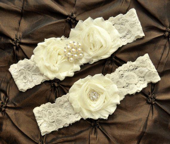 Ivory Wedding Garter Set Bridal Garter Set by HayesStreetBridal