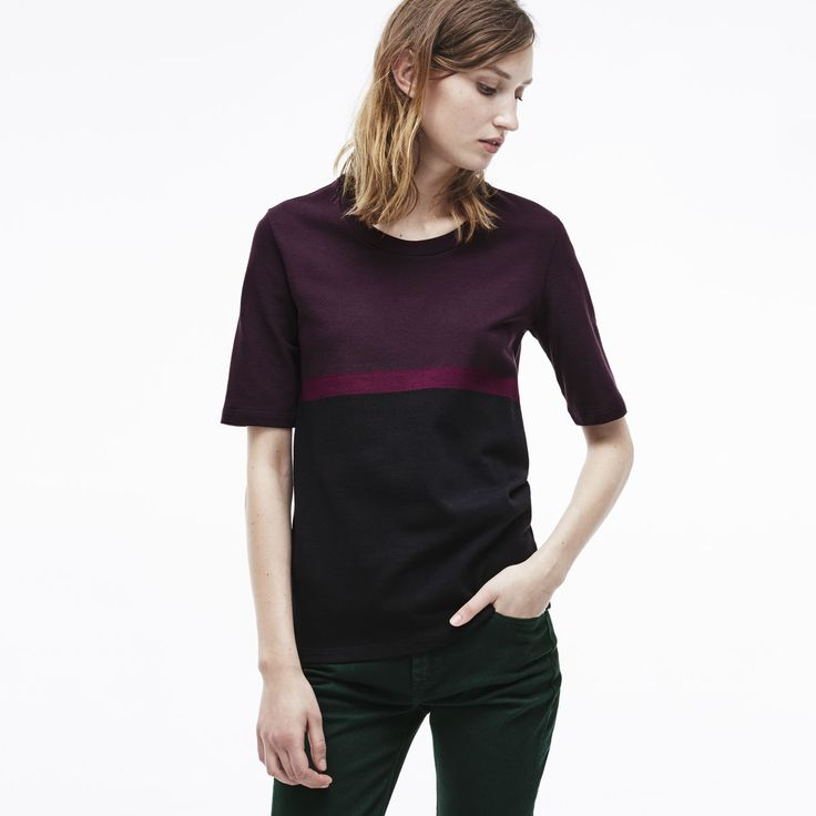 Lacoste Camiseta gola careca de color block suave e fino pique