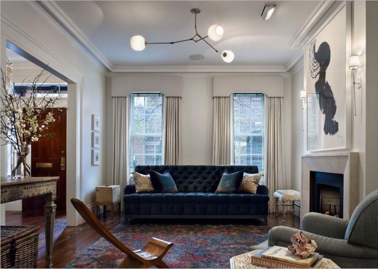 bluesBlue Velvet, Curtains, Living Rooms, Lights Fixtures, Cornices Boards, Livingroom, Brooklyn Heights, Windows Treatments, Gray Wall