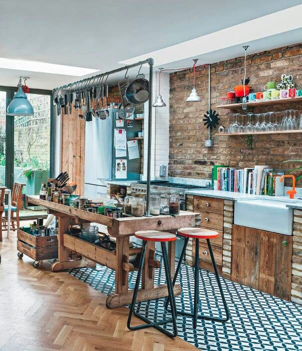Love the tiles, reclaimed wood look, hanging pans etc