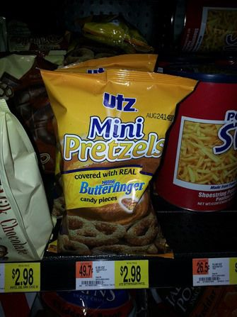 Utz mini pretzels covered in Butterfinger pieces....sounds delish!