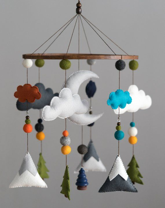 Tribal Woodland Nursery / Felt Mobile / Mountain Nursery / Felt Moon / Woodland Mobile / Nursery Decor / Cross / Scandinavian Decor