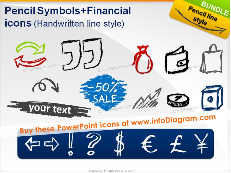 Handdrawn Pencil shapes, sale, discount, arrows, money ... icons.  Fully editable in PowerPoint.