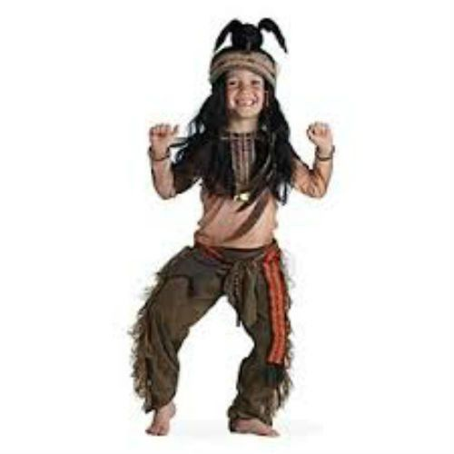 Disney Store TONTO Costume & Feather Crow Wig Headdress Boys The Lone Ranger NEW