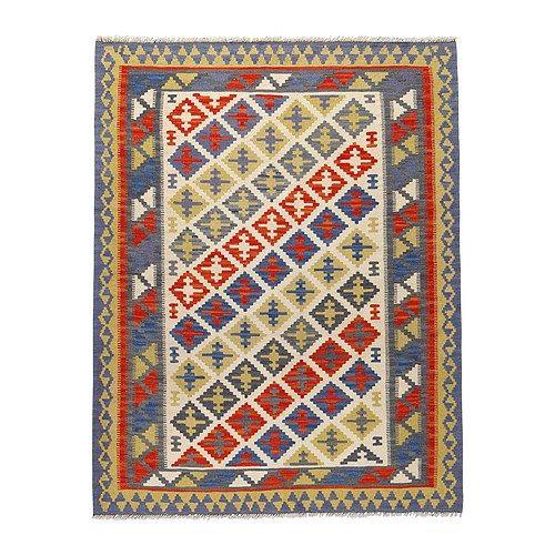 IKEA - PERSISK KELIM GASHGAI, ラグ 平織り, 伝統的なペルシャ模様。一枚一枚柄が異なります熟練した職人による手織り。仕上がりがどれも少しずつ異なります毛足の長いウールを使用。丈夫で遊び毛が出にくく、自然な光沢があります両面同柄のリバーシブル。両面を交互に使えば、偏ったへたりを防げ、より長持ちします表面がフラットなので、椅子の出し入れがしやすく、掃除機もスムーズにかけられます。リビングルームやダイニングルームに最適です