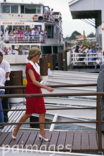 The Princess of Wales disembarks from a traditional paddlesteamer on arrival at Goolwa, South of Adelaide, when the royal couple visited a cottage development for the elderly.