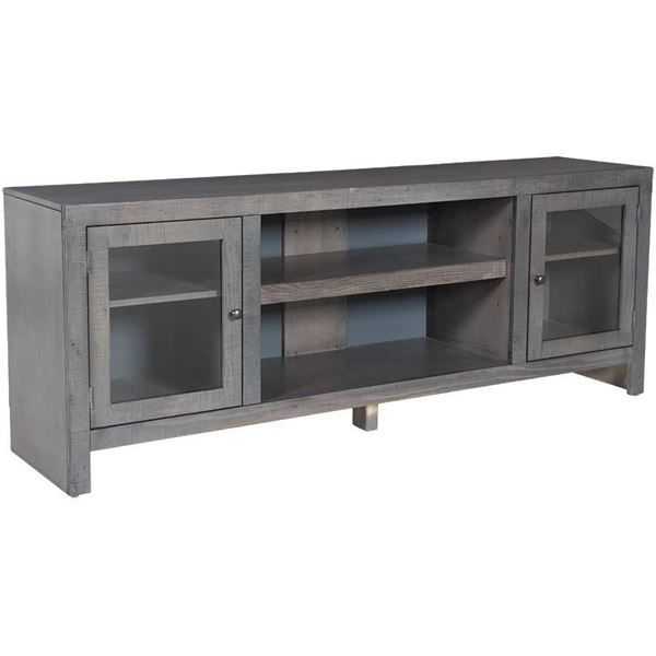 """With its clean lines and contemporary rain gray finish, the Del Mar 72"""" TV Console in Rain Gray is the perfect additional to your media experience. With its lightly distressed finish and practical details like plenty of shelves for all your devices, storage/display areas behind glass doors, and adjustable shelves this media console delivers both fashion and function."""