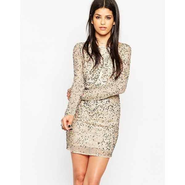 Rock & Religion Embellished Long Sleeve Body-Conscious Dress With... ($68) ❤ liked on Polyvore featuring dresses, nude, white bodycon dress, long sleeve dresses, mesh bodycon dress, white body con dress and bodycon cocktail dress